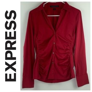 Express Button Up Collared Deep V Career Top Red S